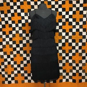 80s does 60s black fringe wiggle dress